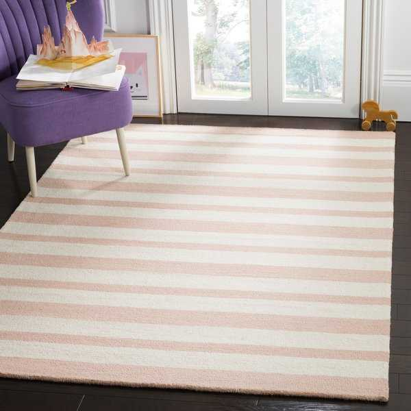 Safavieh Kids Transitional Geometric Hand-Tufted Wool Pink/ Ivory Area Rug - 5' x 7'