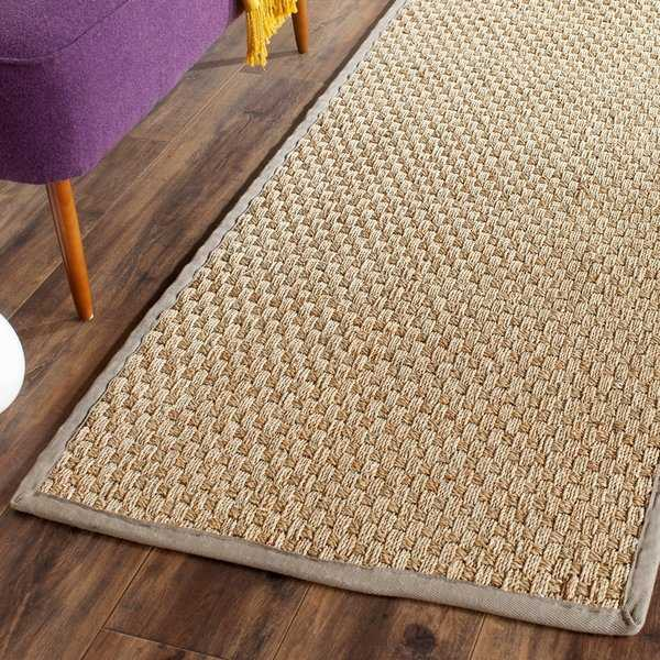 Safavieh Casual Natural Fiber Natural / Grey Seagrass Rug - 2'6' x 8'