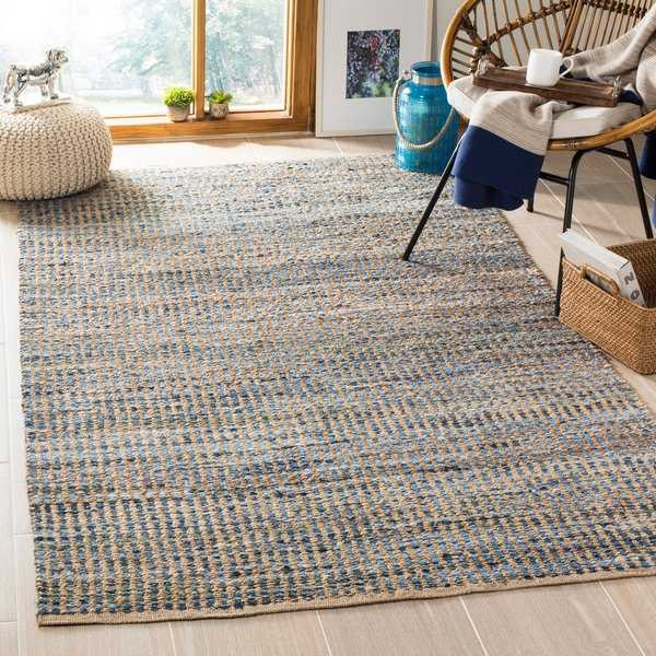 Safavieh Hand-Woven Cape Cod Stripe Natural/ Blue Jute Rug - 6' x 9'