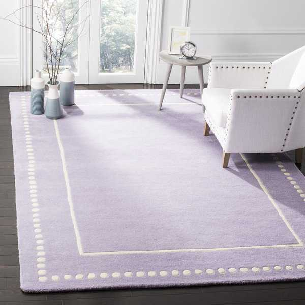 Safavieh Bella Contemporary Handmade Lavender / Ivory Wool Rug - 5' x 5' square
